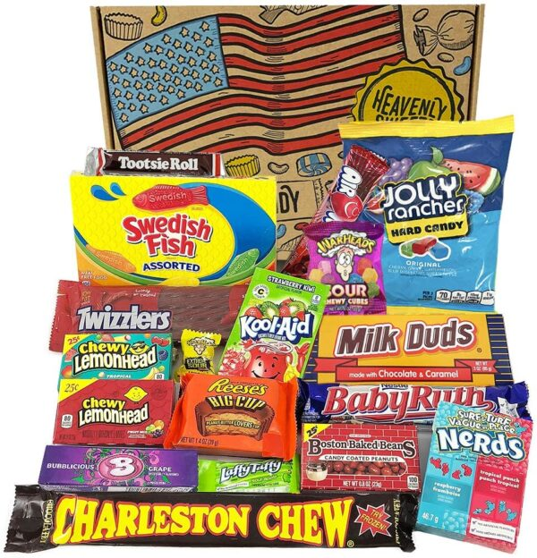 American Candy Large selection box - USA Chocolate, sweets & chews Reese's, Baby Ruth, Nerds, Jolly Rancher, Charlston Chew and more!- Post Box Christmas Present and Gift hamper ideas for American Chocolate & sweets fans - Heavenly Sweets UK 28x19x4cm Package