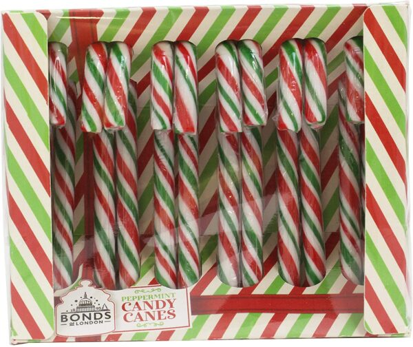 Bonds of London 12 Peppermint Flavour Candy Canes Box, 144 g
