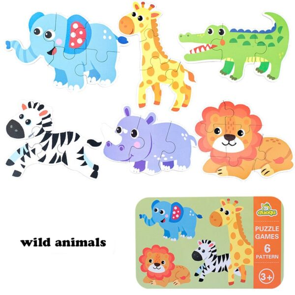 Kids Creative Wooden Puzzle Iron Box Kindergarten Baby Early Education Cartoon Animal Traffic Puzzle Cognitive Interactive Game
