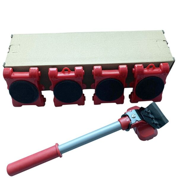 Furniture Mover Tool Transport Lifter Heavy Stuffs Moving 4 Wheeled Roller with 1 Bar Set