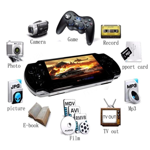 2020 new Built-in 5000 games, 8GB 4.3 Inch PMP Handheld Game Player MP3 MP4 MP5 Player Video FM Camera Portable Game Console