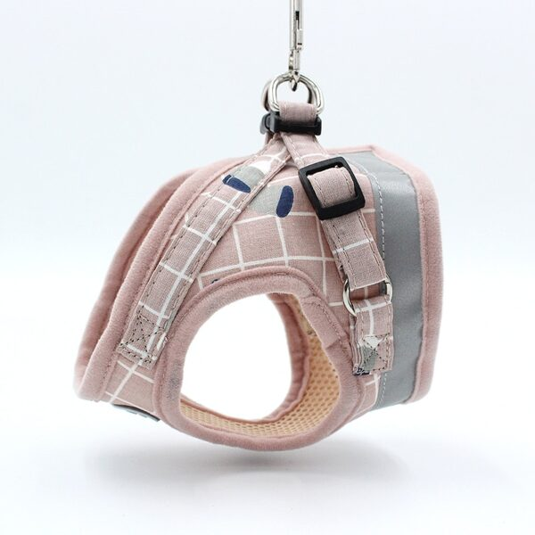 Dog Harness Leash Adjustable Reflective Vest Walking Supplies Soft Breathable Plaid Collar Dog Accessories For Small Medidum Dog