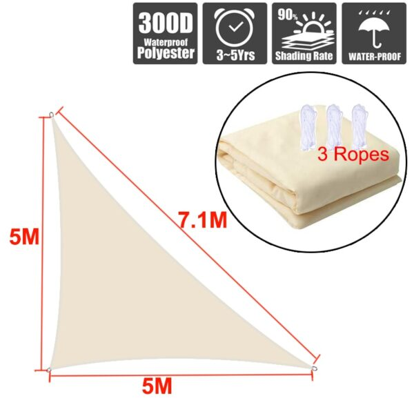 300D oxford Beige right triangle visor sun sail pool cover sunscreen awnings outdoor waterproof sail shade cloth gazebo canopy