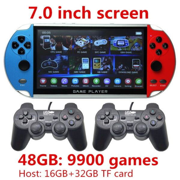 CZT 7-inch Colorful double player game console built-in 9900 games support arcade/neogeo/gbc/snes/fc/md multi-emulator mp3/mp4