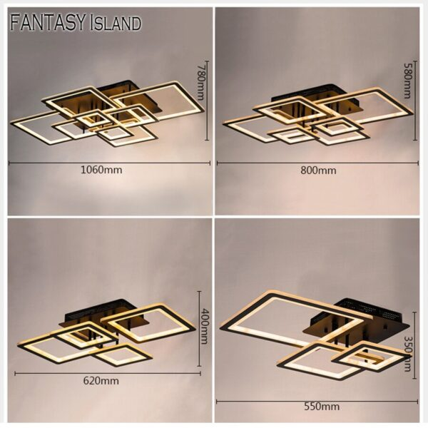 Rectangle Modern Led Ceiling Light For Living Room Bedroom Lamp 220v Fixtures Home Lighting With Remote Control Dimmable Lustre