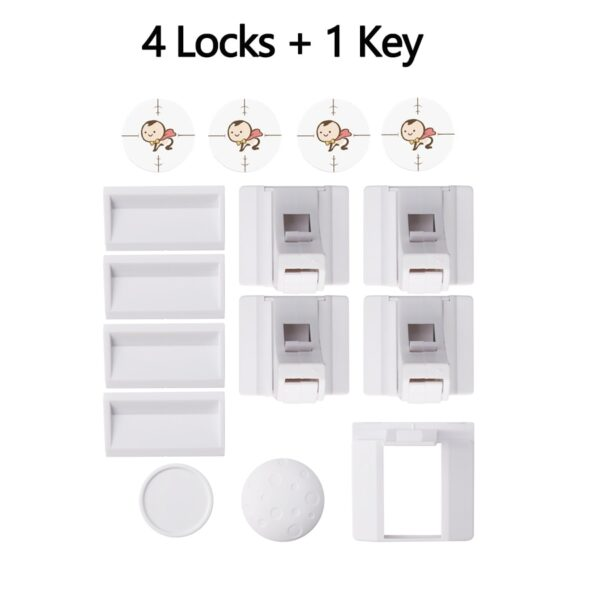 Magnetic Child Lock Baby Safety Cabinet Drawer Door Lock Children Protection Invisible Lock Kids Security 4+1/8+2 With 1 Cradle
