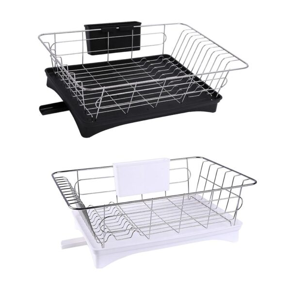 Stainless Steel Single Layer Dish Rack Kitchen Organizer Storage Drainer Drying Plate Shelf Sink Knife Fork Container Accessorie