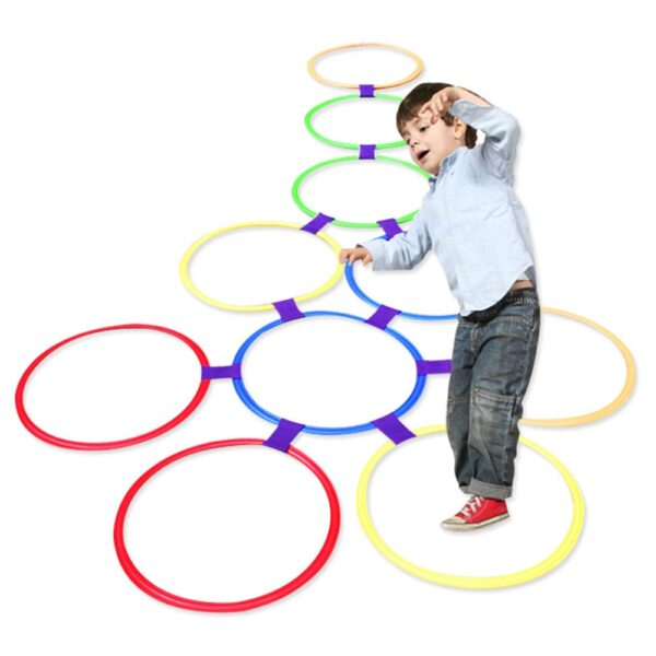 Children's Lattice Jump Ring Set Game Toys with 10 Hoops 10 Connectors Outdoor Garden Park Play Fitness Equipment Sports Toys