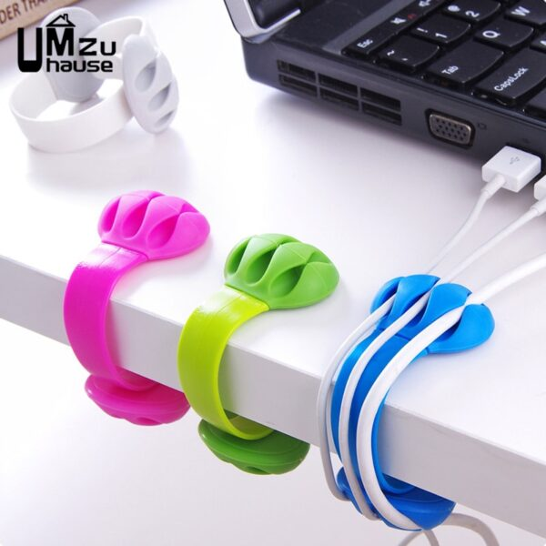 Cute Headphone Cord Wire Holder Rack Winder Desk Organizer Home Office Storage Silicone Stand Table Cable Line Wrap Organization