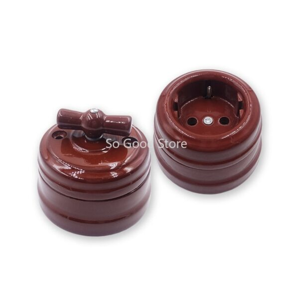 Set Home Improvement European Ceramic Knob Switch Socket Wall Lamp Switch Outlet