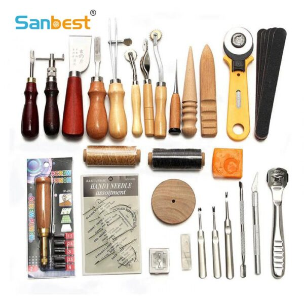 Sanbest Professional Leather Craft Tools Kit Hand Sewing Stitching Punch Carving Work Saddle Groover Set Accessories DIY AT00004