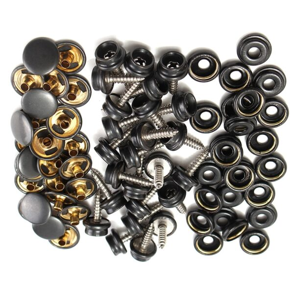 STAINLESS STEEL BOAT COVER CANVAS SNAP FASTENER REPAIR KIT- 75 PIECES SET MARINE 15mm Snap Fastener Buttons Sockets
