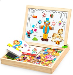100+PCS Wooden Magnetic Puzzle Figure/Animals/ Vehicle /Circus Drawing Board 5 styles Box Educational Toy Gift