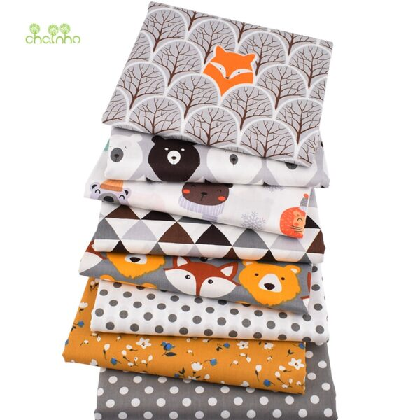 Chainho,8pcs/Lot,Jungle Animals Series,Printed Twill Cotton Fabric,Patchwork Cloth,DIY Sewing Quilting Material For Baby&Child