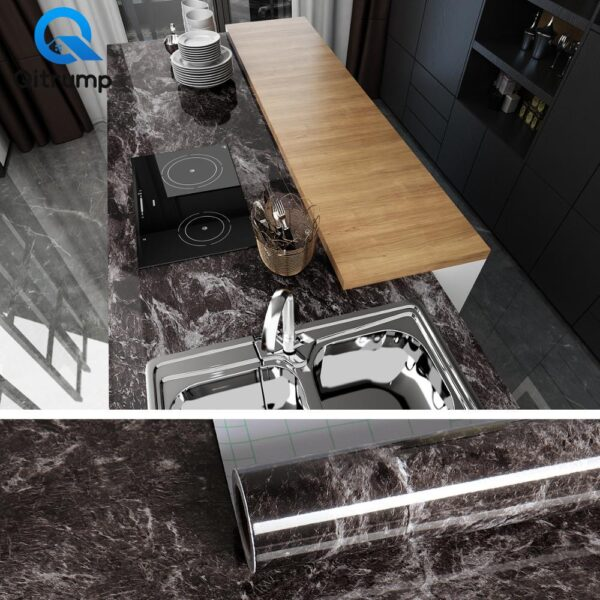 Waterproof Oil-proof Marble Wallpaper Contact Paper Wall Stickers PVC Self Adhesive Bathroom Kitchen Countertop Home Improvement