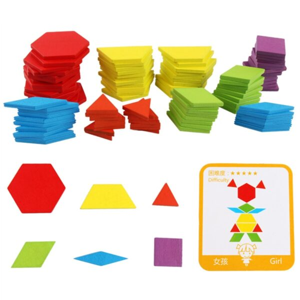 Hot Sale 155pcs Wooden Jigsaw Puzzle Board Set Colorful Baby Montessori Educational Toys for Children Learning Developing Toy
