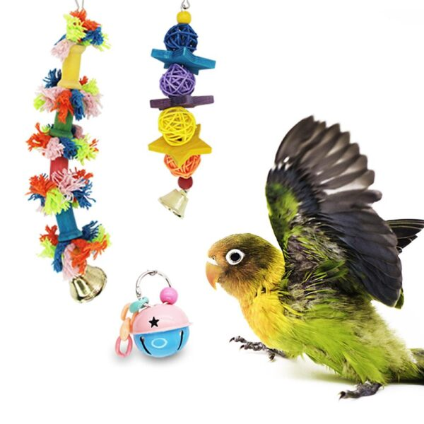 10 Pcs Bird Swing Chewing Training Toys Small Parrot Hammock Parrot Cage Bell Perch Toys with Wooden Beads Hanging Toys Set