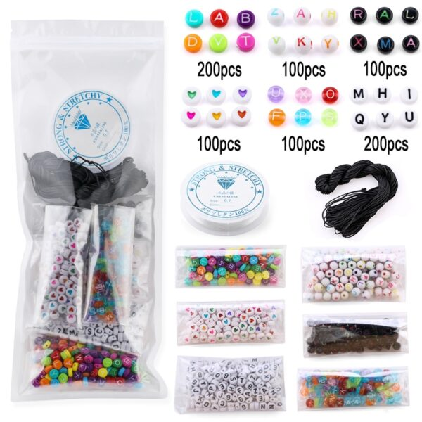 800pcs/lot Mixed Letter Beads Alphabet Beads round Acrylic letter Beads For DIY Jewelry Making handicraft Children gifts
