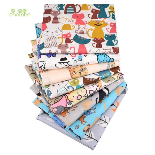 Chainho,8pcs/lot,Cartoon Animal Series,Printed Twill Cotton Fabric,Patchwork Cloth,DIY Sewing Quilting Material ForBaby&Children