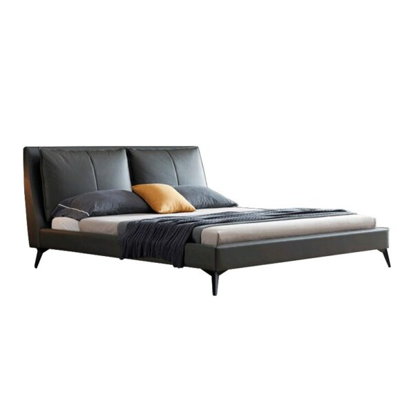 Nordic genuine leather bed modern simple double bed 1.5-1.8m wedding bed minimalist light luxury down feather bed