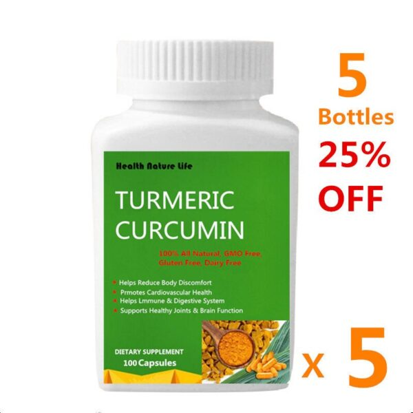 Turmeric Curcumin 95% Extract 100 Caps - with Added Piperine Root Black Pepper High Strength Supplement